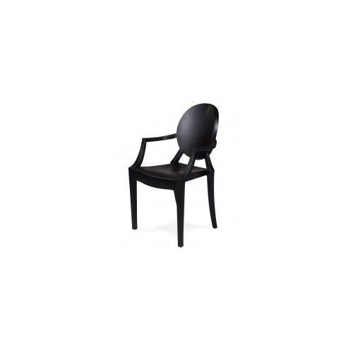 Krzesło plastikowe LOUIS matowe czarne - polipropylen (5900168810693)