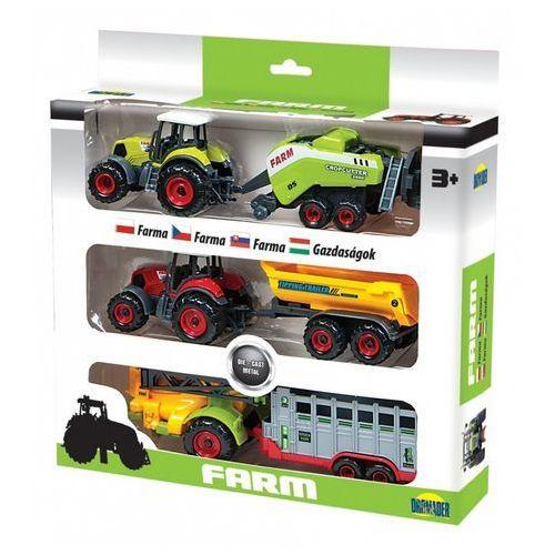 Dromader Trzy traktory z przyczepami w pudełku (6900360024385)