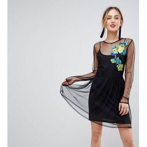 Asos tall long sleeve embroidered dobby mesh skater dress - black