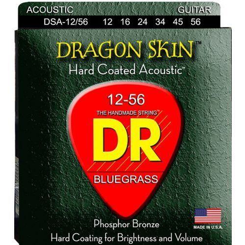 DR DRAGON SKIN - struny do gitary akustycznej, Coated Phosphor Bronze, Bluegrass,.012-.056