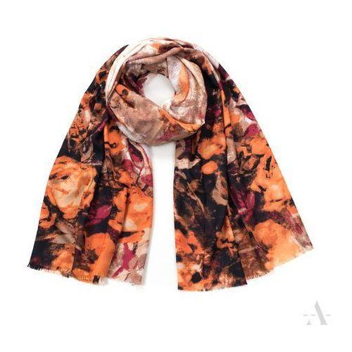 Stylowy szal damski z wzorem róży brązowo-pomarańczowy - brązowy ||pomarańczowy ||rudy ||bordowy ||biały marki Chrl