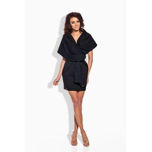 Czarna Szlafrokowa Sukienka Mini z Szerokim Kołnierzem, w 3 rozmiarach