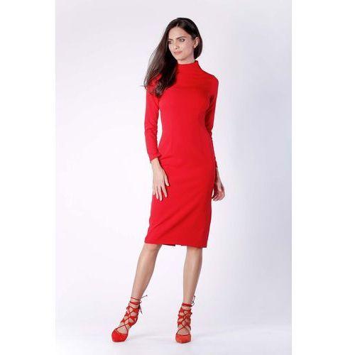 c6ca891122dd16 Nowoczesna Czerwona Prosta Sukienka Midi z Półgolfem, w 6 rozmiarach 159,90  zł Material: poliester 60% wiskoza 40%.Dostepne rozmiary: XS (34), S (36),  ...