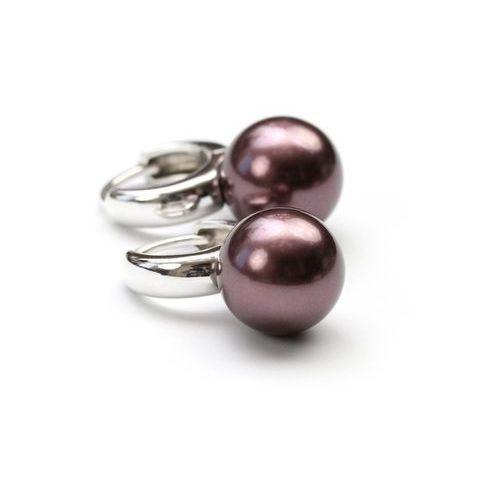 Kolczyki z dużymi perłami w srebrze. Burgundowe., produkt marki PaniOstryga