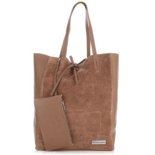 af94a2196044f Włoskie torebki skórzane shopperbag z etui ziemista (kolory) marki Vittoria  gotti ...
