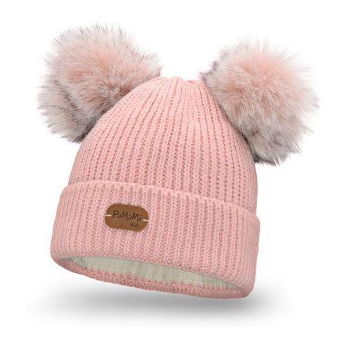 Zimowa czapka dziewczęca - pudrowy róż - pudrowy róż marki Pamami