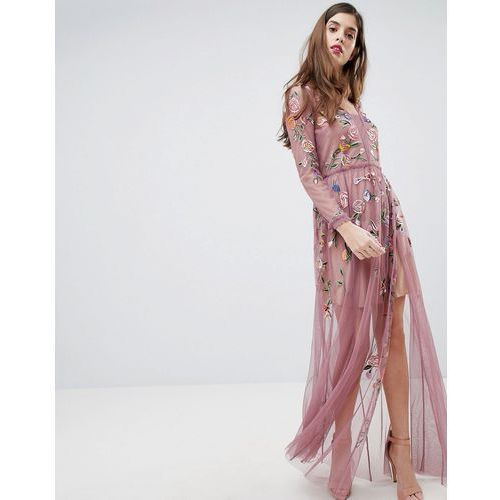 sheer embroidered maxi dress - pink marki French connection