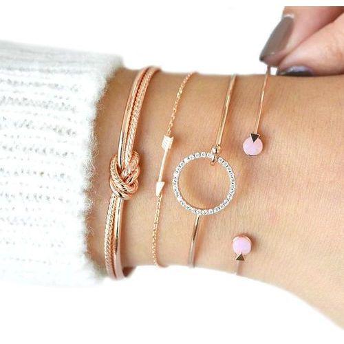 Bransoletka zestaw węzeł strzała różowe złoto - różowe złoto, kolor różowy