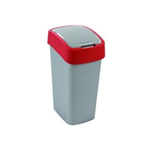 Curver  kosz na śmieci flip bin 50l - srebrny/czerwony (3253922172028)