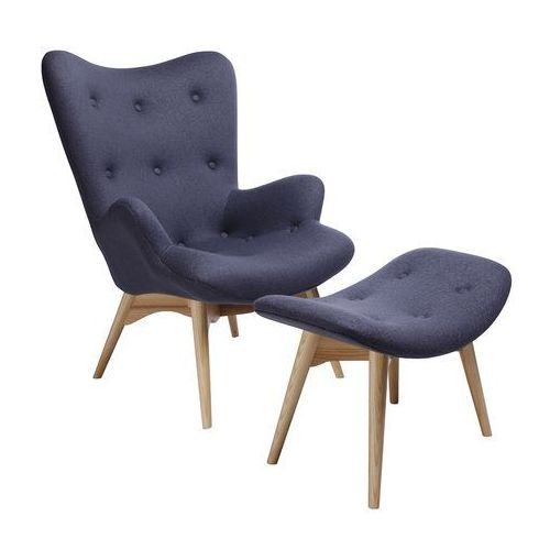 King home Fotel contour z podnóżkiem - szary, tkanina, nogi jesion