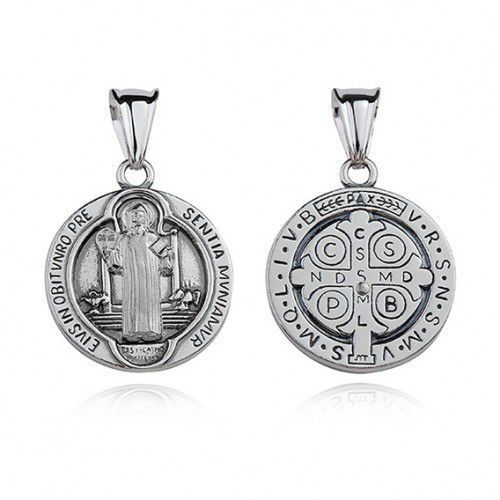 Srebrny oksydowany medalik pr.925 Święty Benedykt, M189OX