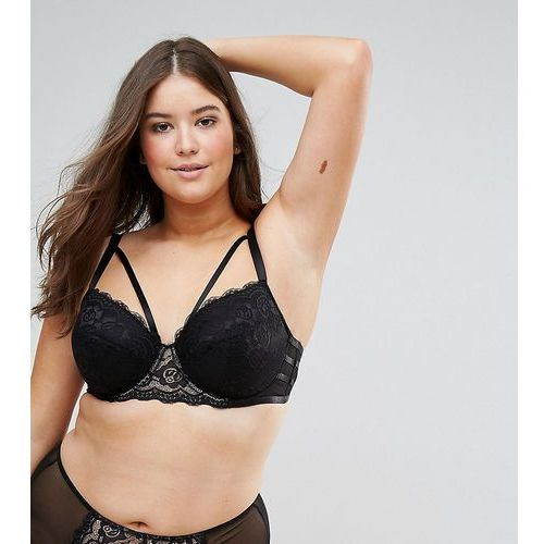 ASOS DESIGN Curve Florence strappy lace moulded underwire bra - Black