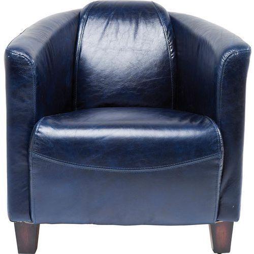 Cigar Lounge Fotel Niebieski Tkanina Skóra Ekologiczna - 78812, marki Kare Design do zakupu w sfmeble.pl
