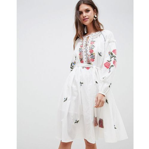 French Connection Embroidered Smock Dress - White