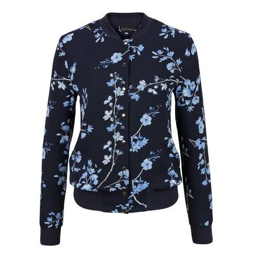 Bonprix Must have: kurtka bomberka  ciemnoniebiesko-jasnoniebieski w kwiaty