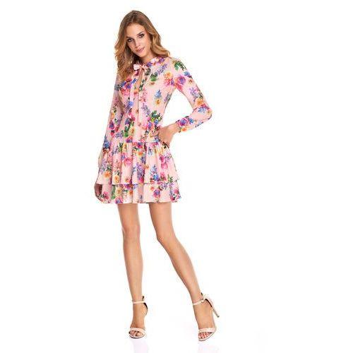 Sukienka Betty różowa w jaskrawe kwiaty, kolor różowy