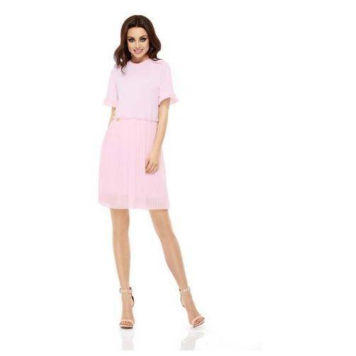 Lemoniade Różowa elegancka wyjściowa sukienka z plisowaniem