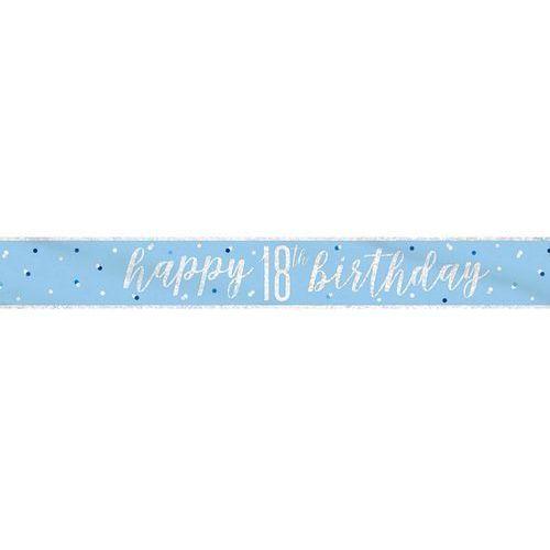 Baner Happy Birthday niebieski na 18 urodziny - 274 cm - 1 szt.