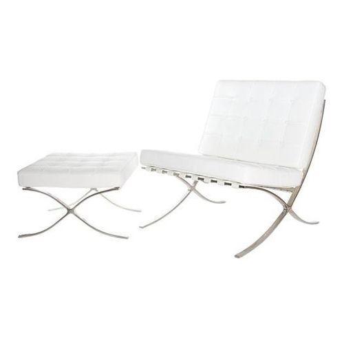 Fotel BA1 Premium Inspirowany Barcelona - biały, kolor biały