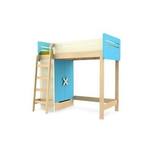 Łóżko piętrowe z szafą TIMOORE SIMPLE 200/90cm kolor niebieski - oferta [055c622fa505d57a]