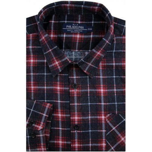 Koszula męska flanelowa bordowa w kratę na długi rękaw w kroju regular a257 marki Philadelphia