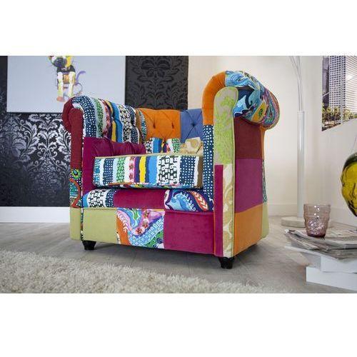 IiNTERIOR Chesterfield Patchwork Fotel Wielokolorowy Tkanina - i35017