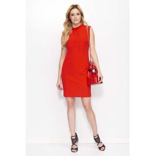 Czerwona klasyczna sukienka z wycięciem na plecach marki Makadamia