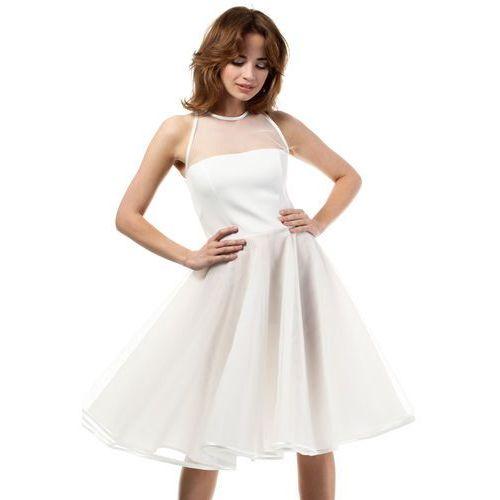 Ecru Wieczorowa Sukienka z Prześwitującym Modnie Karczkiem, E148ecr