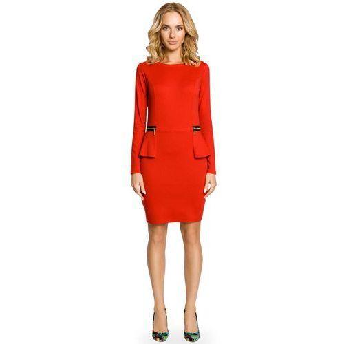 372a79635e Elegancka Sukienka z Baskinką i Suwakami - Czerwony