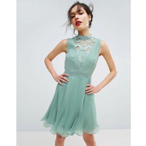 ASOS Sleeveless Lace Insert Mini Dress - Green, kolor zielony