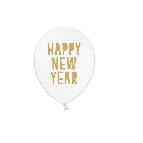 Balony Happy New Year białe - 30 cm - 5 szt.