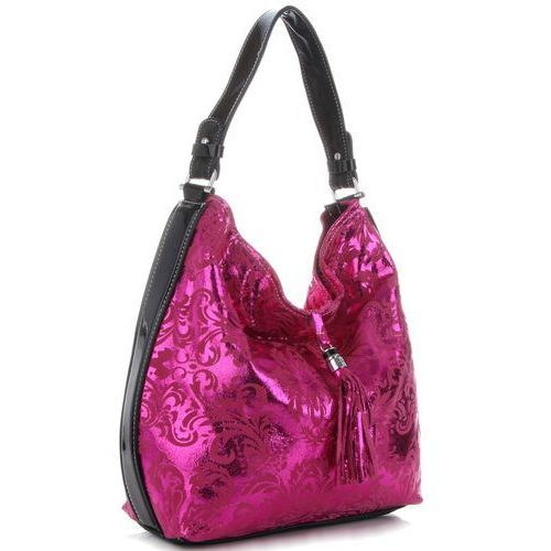 d44573ac95a00 Velina Fabbiano Eleganckie Włoskie Torebki Skórzane w modne wzory łączone z  lakierem Fuksjowe (kolory) 279