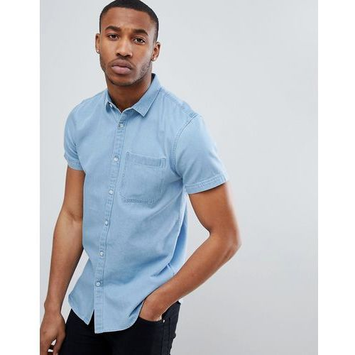 regular fit short sleeve denim shirt in light blue wash - blue marki New look