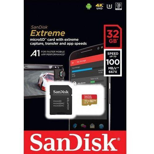 Sandisk Karta pamięci microsdhc extreme 32gb 100/60 mb/s a1 class 10 v30 uhs-i u3