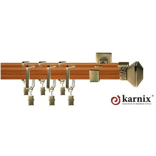Karnisz kwadratowy ROYAL podwójny 20x20/20x20mm Eve Antyk mosiądz - calvados, produkt marki Karnix