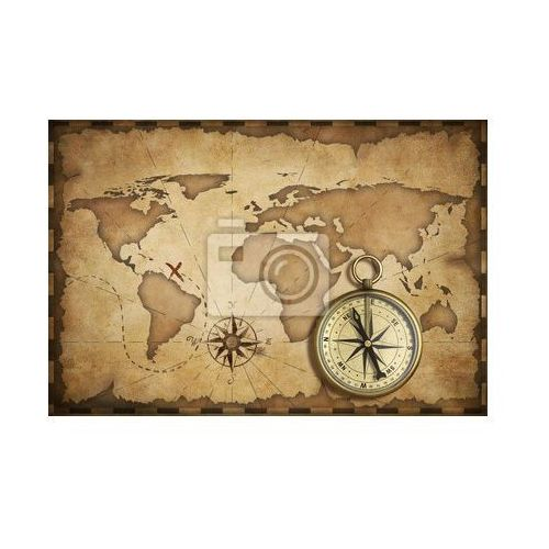 Fototapeta wieku mosiądz antyczny nawigacyjny kompas i starych map z toru na nim, Redro z REDRO