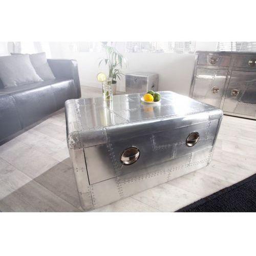 IiNTERIOR Ława Stolik Kawowy Srebrny Alloy 100x60 cm z Wykończeniem Aluminiowym - i22843 (stolik i ława do salonu) od sfmeble.pl