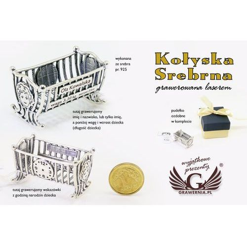 - Kołyska srebrna pamiątka chrztu świętego - srebro - wzór srb011