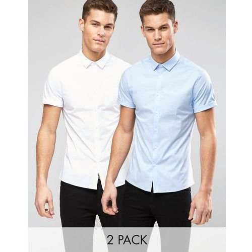 Skinny Shirt 2 Pack In White And Blue - Multi marki ASOS