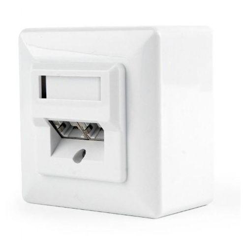 Gniazdo natynkowe mws-2s5e-01 stp dwuportowe, kat. 5e (białe) marki Gembird