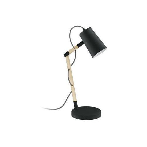 Stojąca LAMPA biurkowa TORONA 94034 Eglo drewniana OPRAWA stołowa IP20 czarna, kolor Czarny