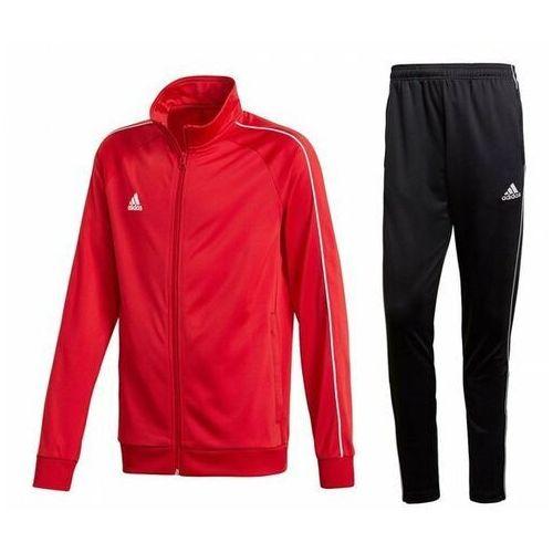 Dres męski core 18 bluza / spodnie cv3565 / ce9036 - czerwono-czarny marki Adidas