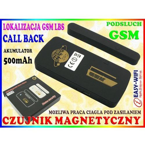ALARM GSM PLUSKWA PODSŁUCH CZUJNIK MAGNETYCZNY KONTAKTRON NA DRZWI OKNO, Sklep Easy-WiFi