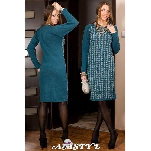 Amstyl 189 _ołówkowa sukienka pepitka nowość