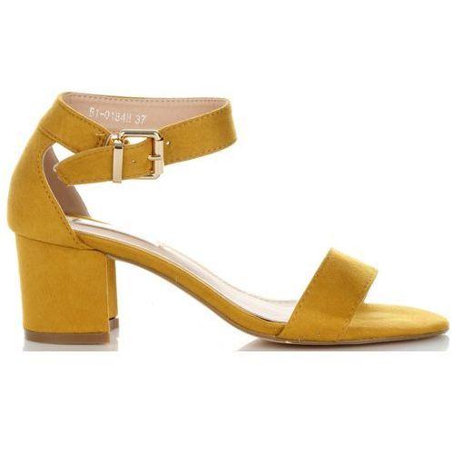 Uniwersalne sandały damskie na szerokim obcasie marki bellucci żółte (kolory), Belluci
