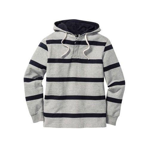 Bluza z kapturem Regular Fit bonprix jasnoszary melanż-ciemnoniebieski w paski, z