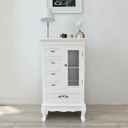 Biała szafka z 2 szufladami i 5 półkami, produkt marki vidaXL