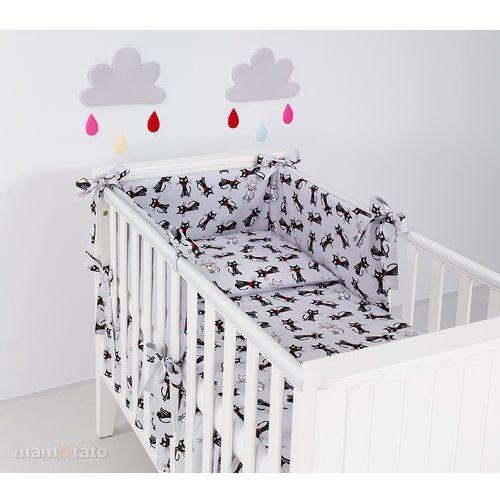 Mamo-tato ochraniacz rozbieralny do łóżeczka 60x120 cm kotki szare / szary