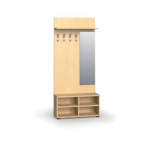Garderoba z półką na buty i lustrem, 4 haczyki, półka, brzoza