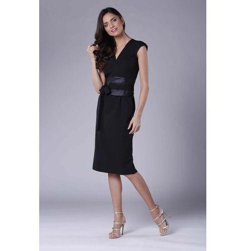 f48fca2275 Czarna Elegancka Ołówkowa Sukienka Midi z Zaznaczoną Talią